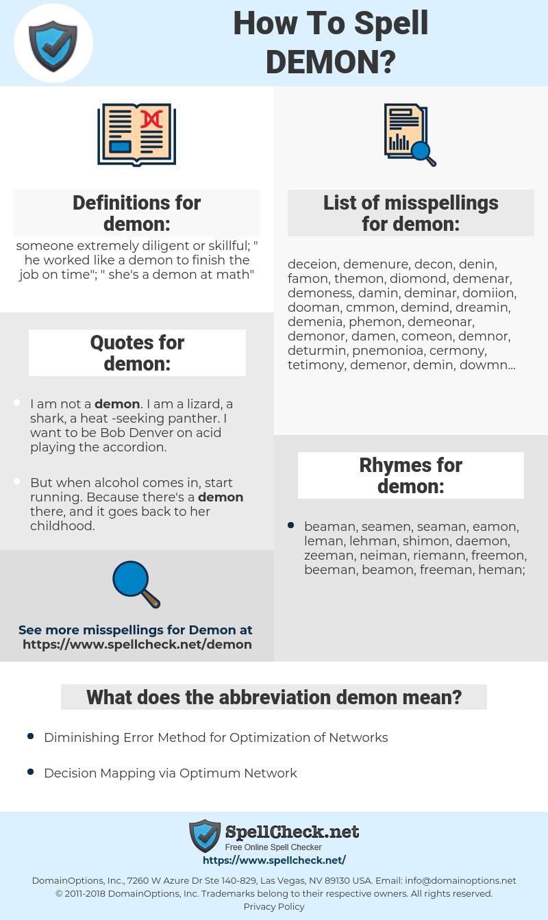 demon, spellcheck demon, how to spell demon, how do you spell demon, correct spelling for demon