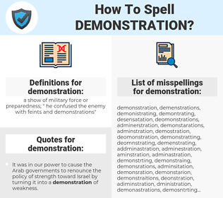 demonstration, spellcheck demonstration, how to spell demonstration, how do you spell demonstration, correct spelling for demonstration