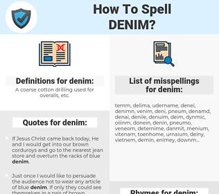 denim, spellcheck denim, how to spell denim, how do you spell denim, correct spelling for denim
