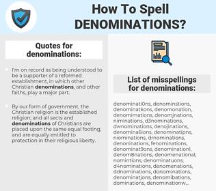 denominations, spellcheck denominations, how to spell denominations, how do you spell denominations, correct spelling for denominations