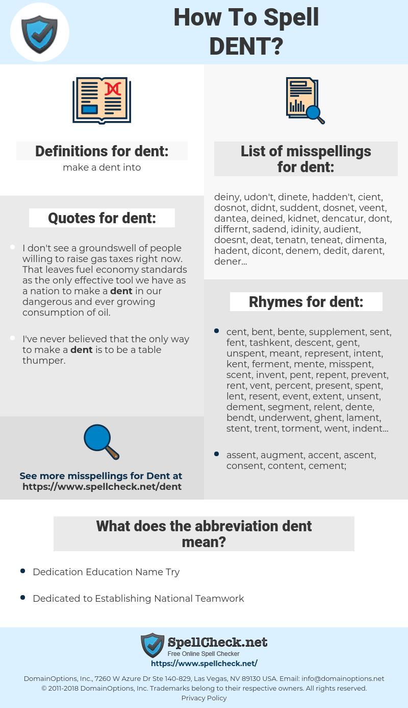 dent, spellcheck dent, how to spell dent, how do you spell dent, correct spelling for dent