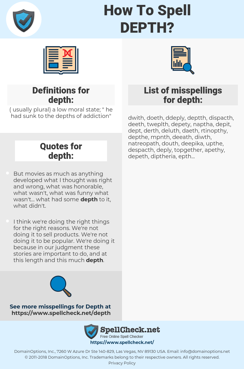 depth, spellcheck depth, how to spell depth, how do you spell depth, correct spelling for depth