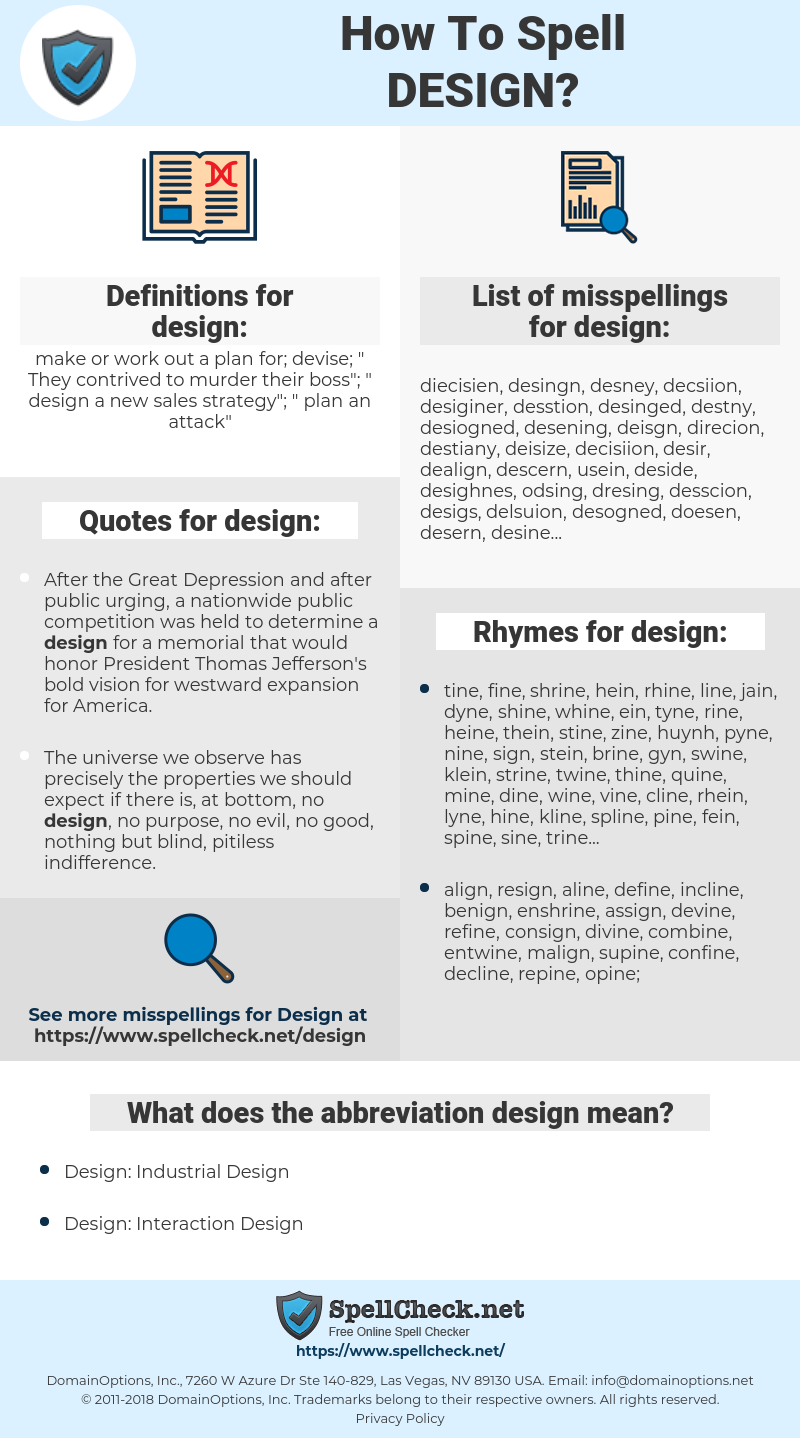 design, spellcheck design, how to spell design, how do you spell design, correct spelling for design