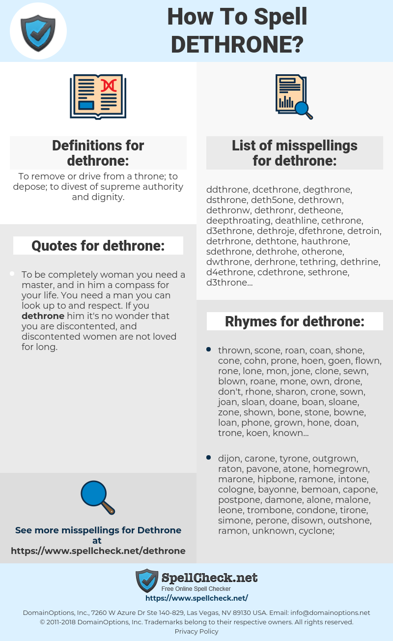 dethrone, spellcheck dethrone, how to spell dethrone, how do you spell dethrone, correct spelling for dethrone