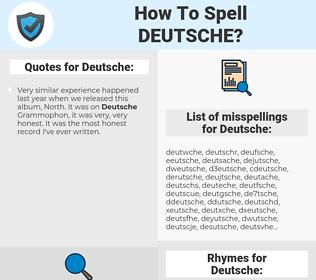 Deutsche, spellcheck Deutsche, how to spell Deutsche, how do you spell Deutsche, correct spelling for Deutsche