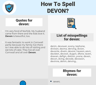 devon, spellcheck devon, how to spell devon, how do you spell devon, correct spelling for devon