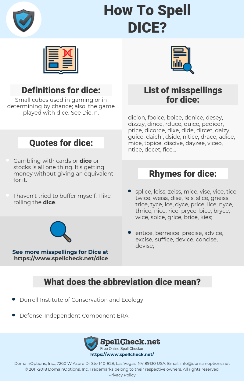 dice, spellcheck dice, how to spell dice, how do you spell dice, correct spelling for dice
