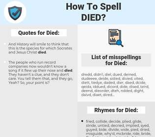 Died, spellcheck Died, how to spell Died, how do you spell Died, correct spelling for Died