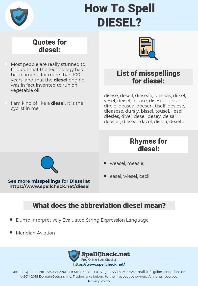 diesel, spellcheck diesel, how to spell diesel, how do you spell diesel, correct spelling for diesel