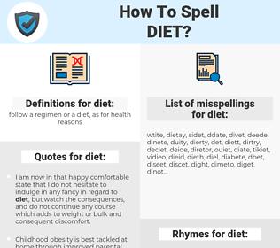 diet, spellcheck diet, how to spell diet, how do you spell diet, correct spelling for diet