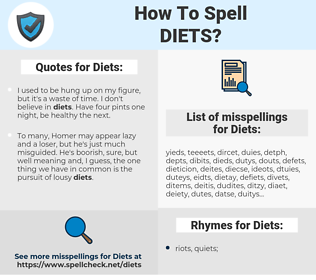 Diets, spellcheck Diets, how to spell Diets, how do you spell Diets, correct spelling for Diets