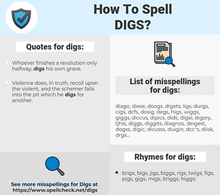 digs, spellcheck digs, how to spell digs, how do you spell digs, correct spelling for digs