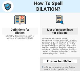 dilation, spellcheck dilation, how to spell dilation, how do you spell dilation, correct spelling for dilation