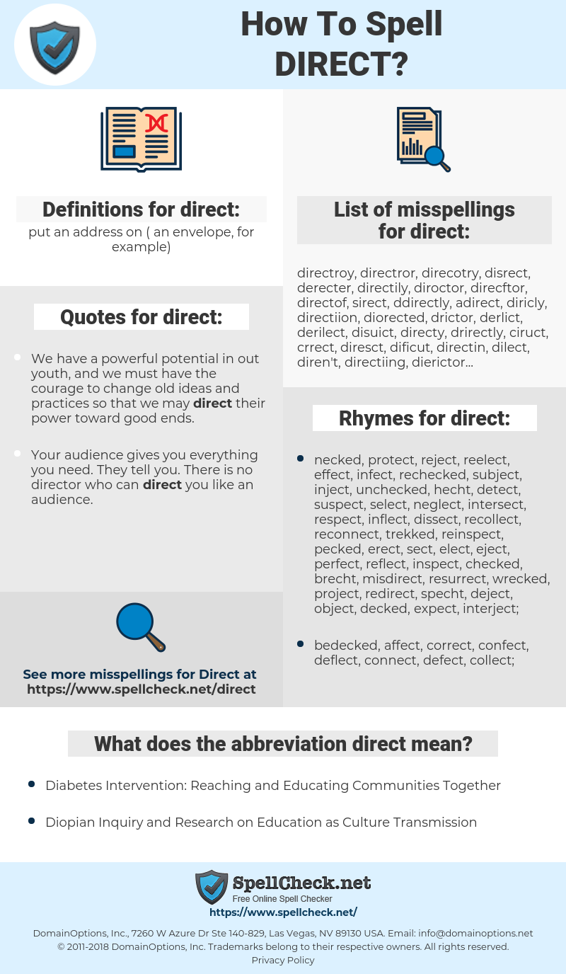 direct, spellcheck direct, how to spell direct, how do you spell direct, correct spelling for direct