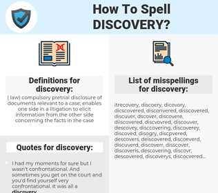discovery, spellcheck discovery, how to spell discovery, how do you spell discovery, correct spelling for discovery