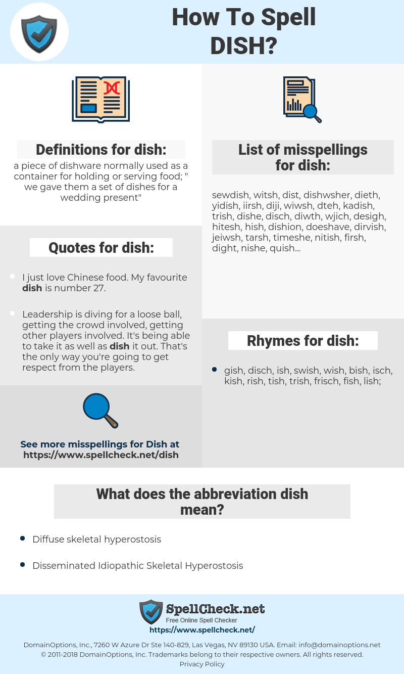 dish, spellcheck dish, how to spell dish, how do you spell dish, correct spelling for dish