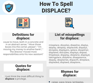 displace, spellcheck displace, how to spell displace, how do you spell displace, correct spelling for displace