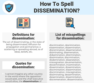 dissemination, spellcheck dissemination, how to spell dissemination, how do you spell dissemination, correct spelling for dissemination