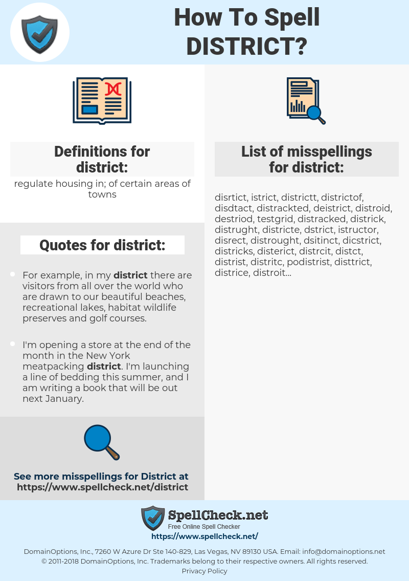 district, spellcheck district, how to spell district, how do you spell district, correct spelling for district