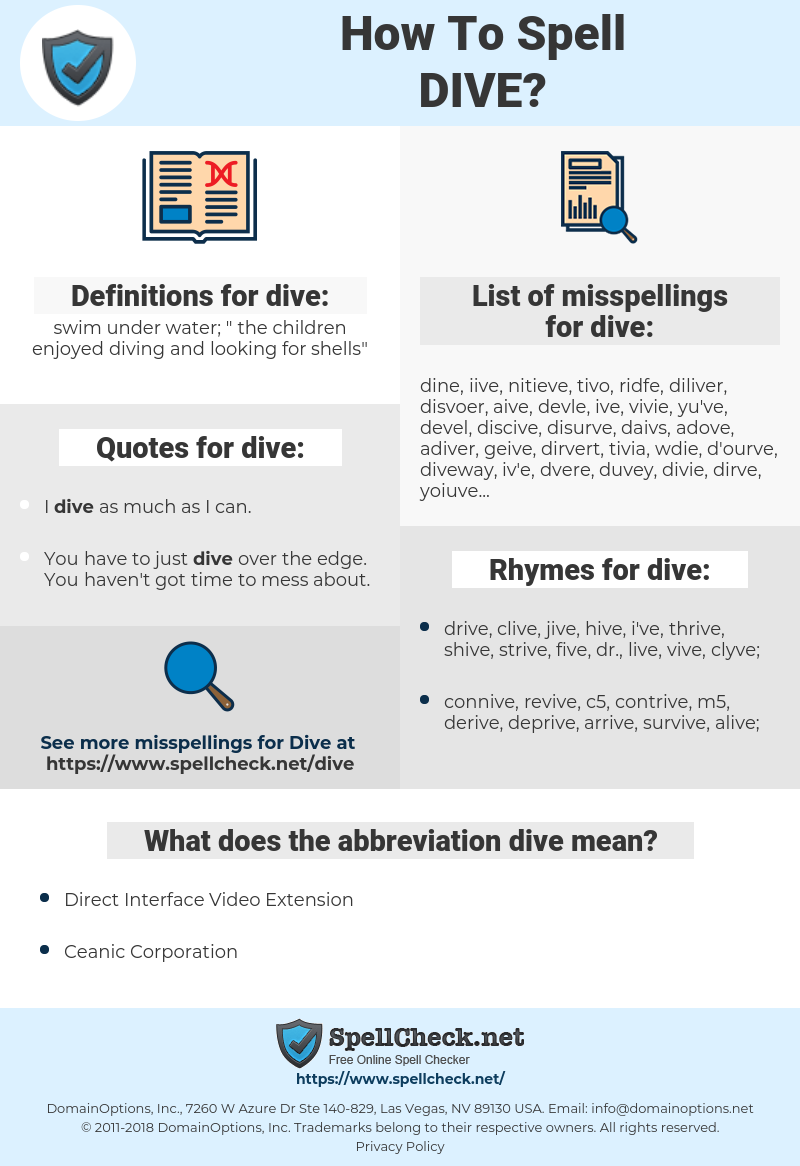 dive, spellcheck dive, how to spell dive, how do you spell dive, correct spelling for dive