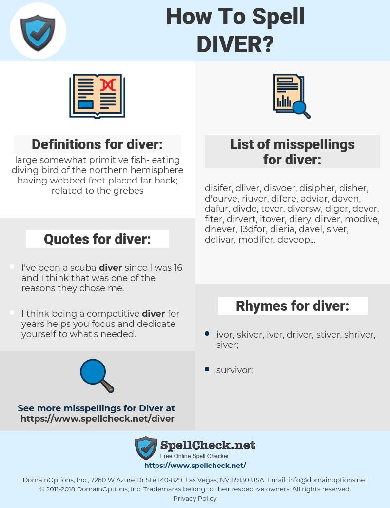 diver, spellcheck diver, how to spell diver, how do you spell diver, correct spelling for diver