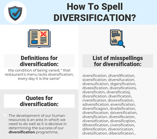 diversification, spellcheck diversification, how to spell diversification, how do you spell diversification, correct spelling for diversification