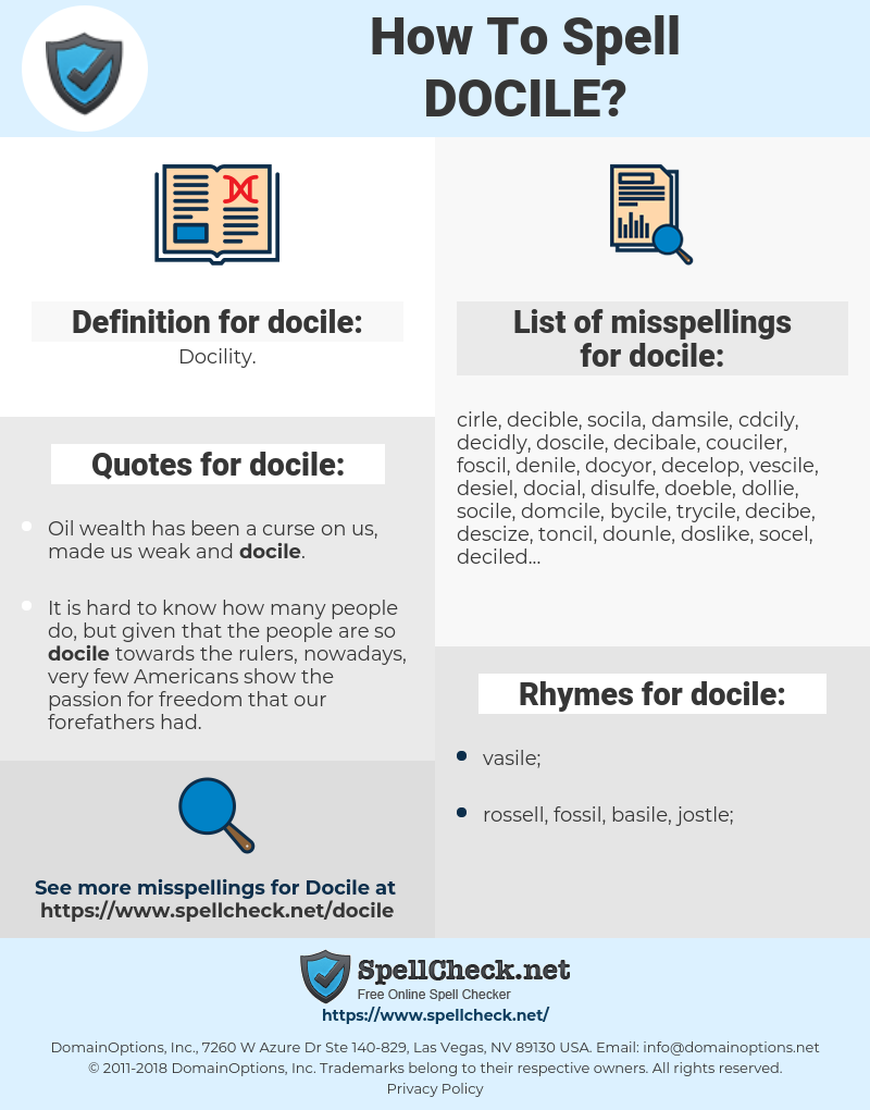 docile, spellcheck docile, how to spell docile, how do you spell docile, correct spelling for docile