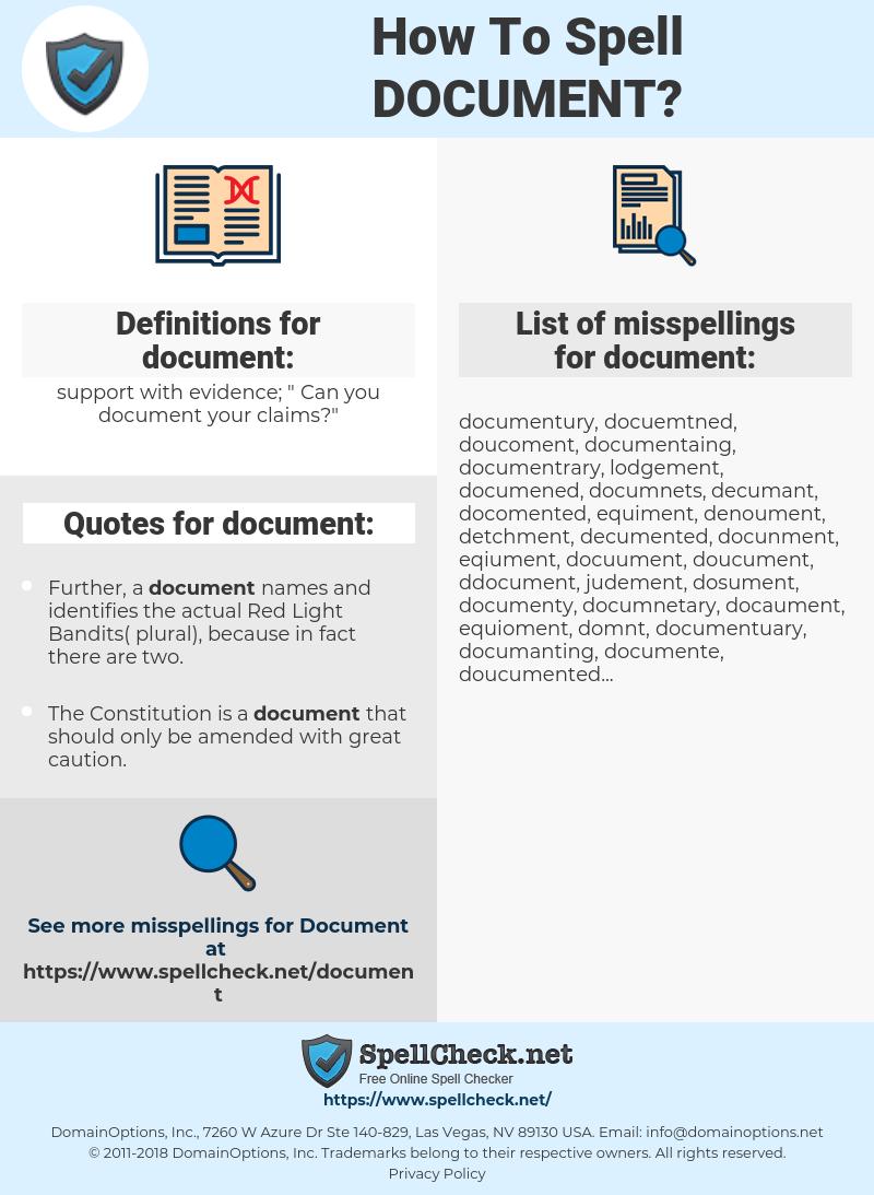 document, spellcheck document, how to spell document, how do you spell document, correct spelling for document