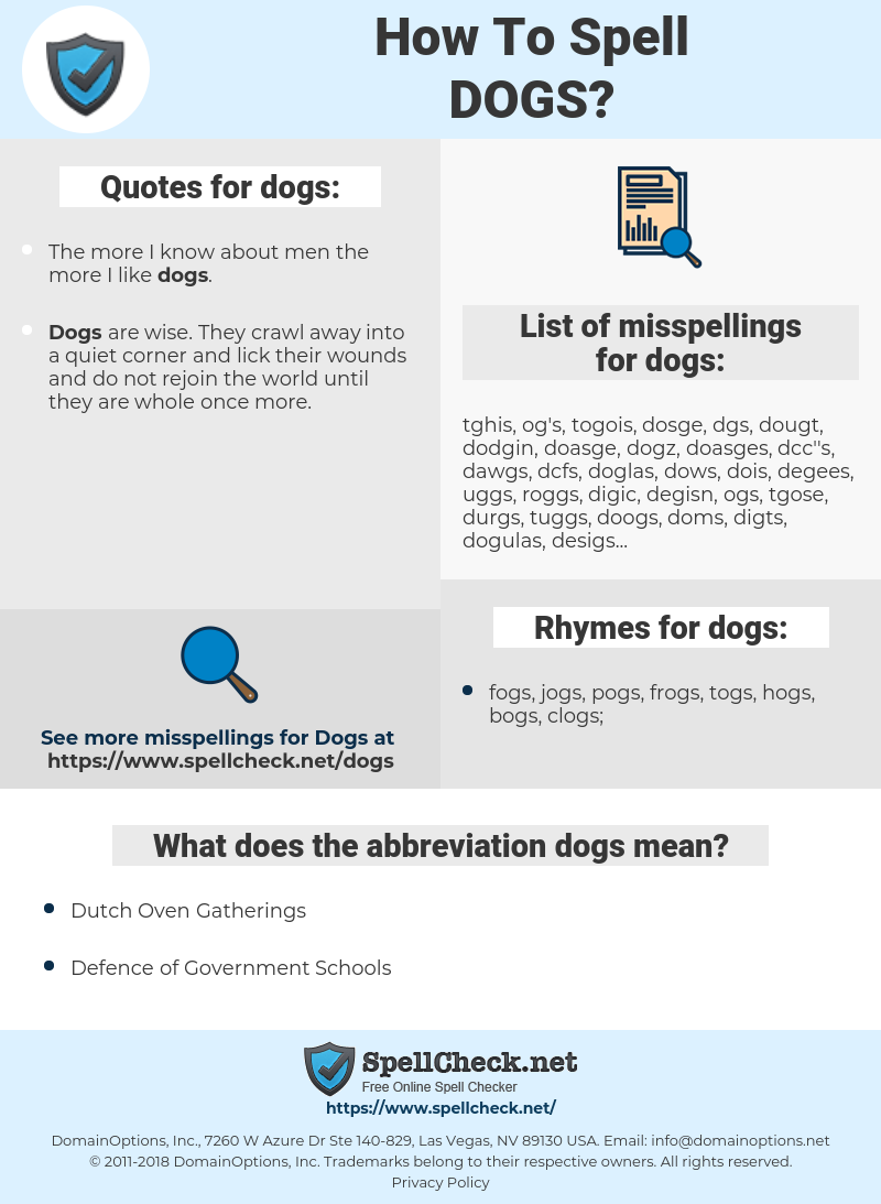 dogs, spellcheck dogs, how to spell dogs, how do you spell dogs, correct spelling for dogs