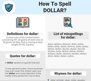 dollar, spellcheck dollar, how to spell dollar, how do you spell dollar, correct spelling for dollar