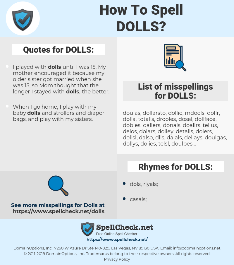 DOLLS, spellcheck DOLLS, how to spell DOLLS, how do you spell DOLLS, correct spelling for DOLLS