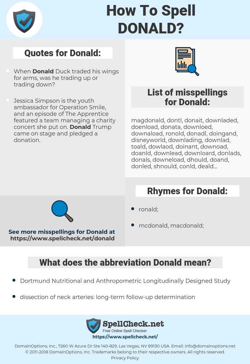 Donald, spellcheck Donald, how to spell Donald, how do you spell Donald, correct spelling for Donald