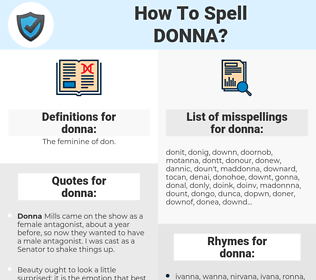 donna, spellcheck donna, how to spell donna, how do you spell donna, correct spelling for donna