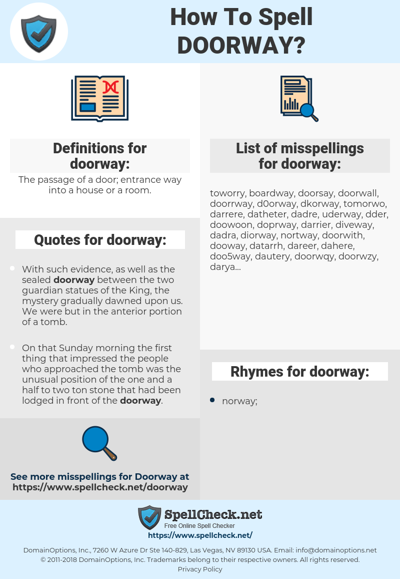 doorway, spellcheck doorway, how to spell doorway, how do you spell doorway, correct spelling for doorway