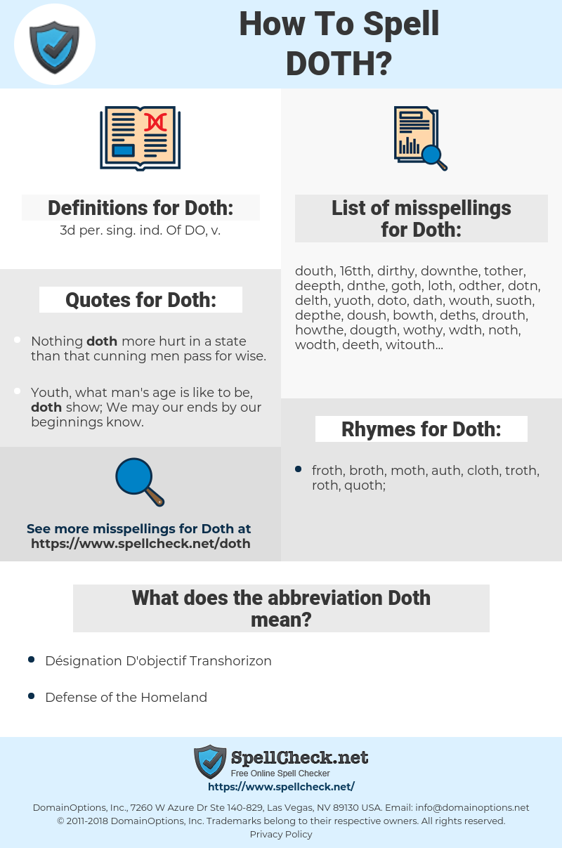 Doth, spellcheck Doth, how to spell Doth, how do you spell Doth, correct spelling for Doth