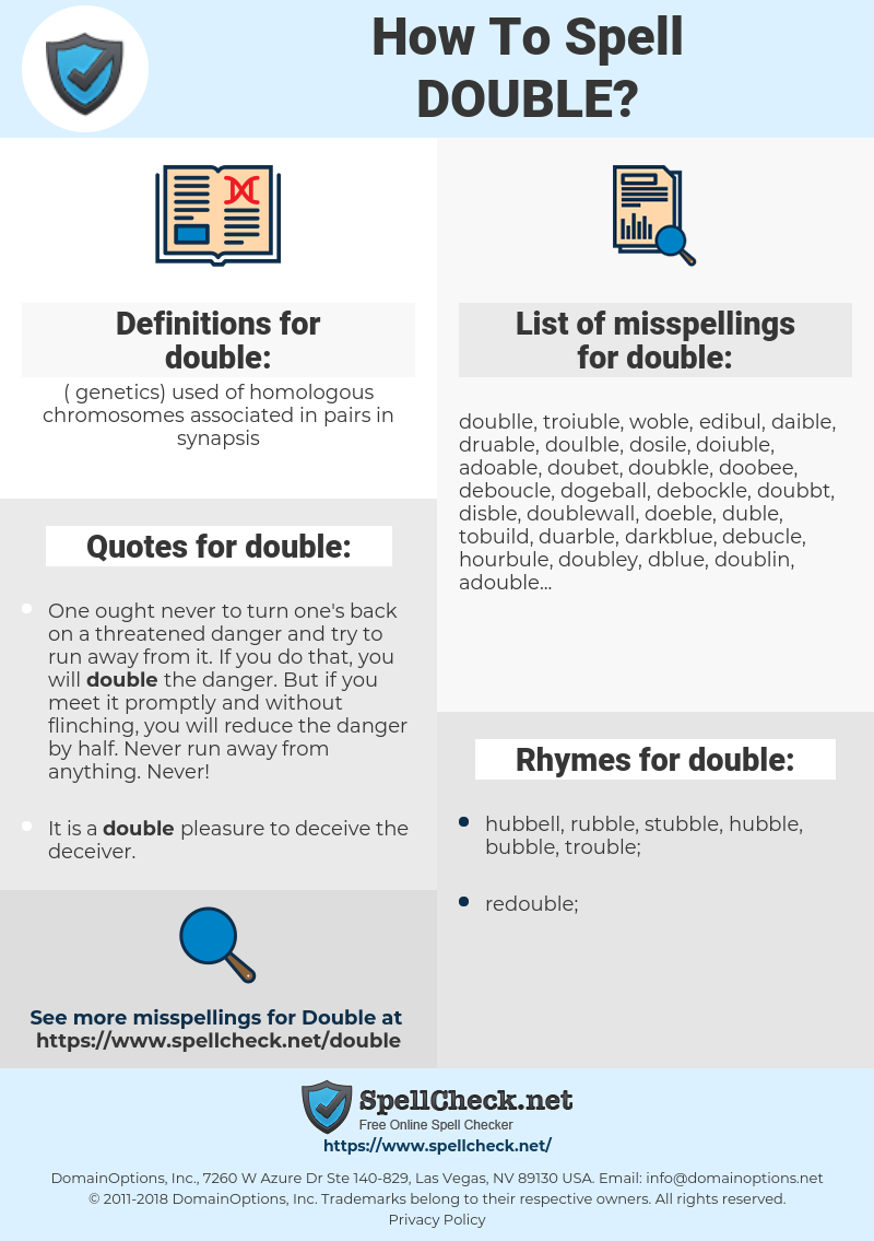 double, spellcheck double, how to spell double, how do you spell double, correct spelling for double