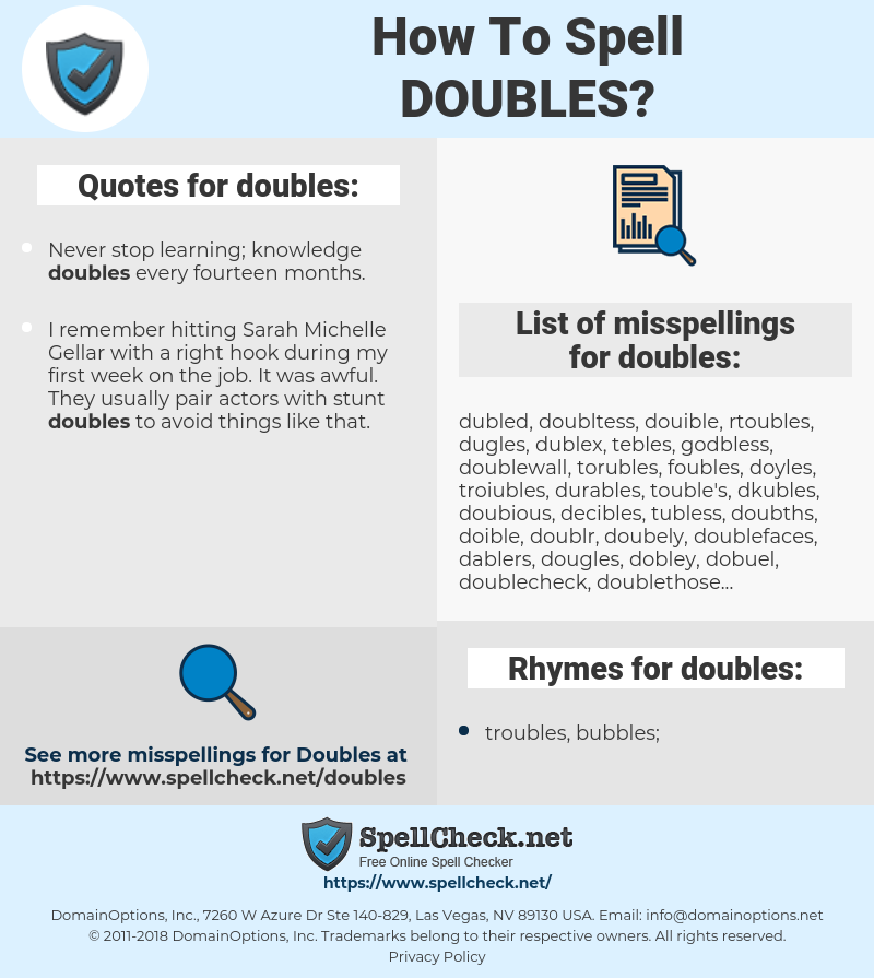 doubles, spellcheck doubles, how to spell doubles, how do you spell doubles, correct spelling for doubles