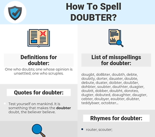 doubter, spellcheck doubter, how to spell doubter, how do you spell doubter, correct spelling for doubter