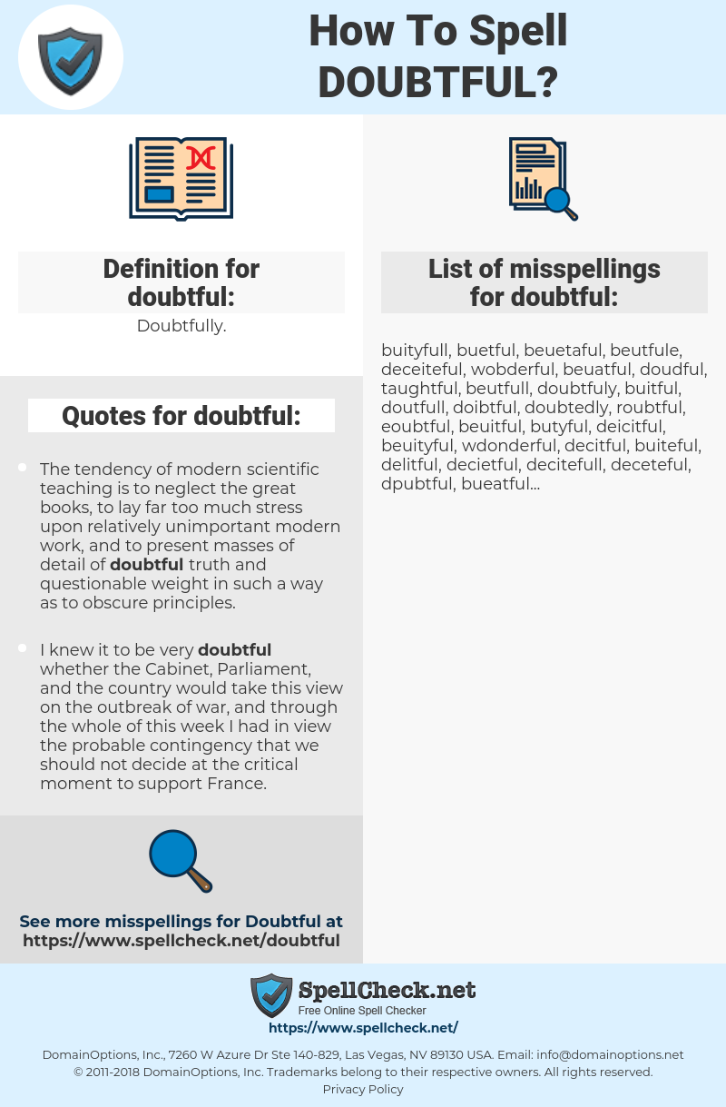 doubtful, spellcheck doubtful, how to spell doubtful, how do you spell doubtful, correct spelling for doubtful