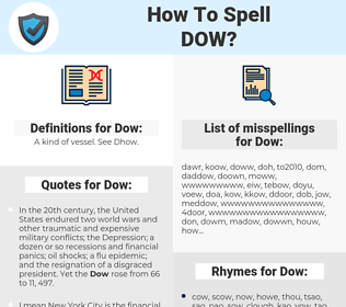 Dow, spellcheck Dow, how to spell Dow, how do you spell Dow, correct spelling for Dow