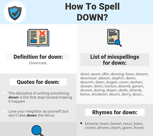 down, spellcheck down, how to spell down, how do you spell down, correct spelling for down