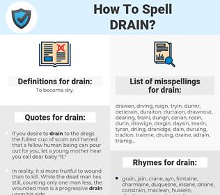 drain, spellcheck drain, how to spell drain, how do you spell drain, correct spelling for drain