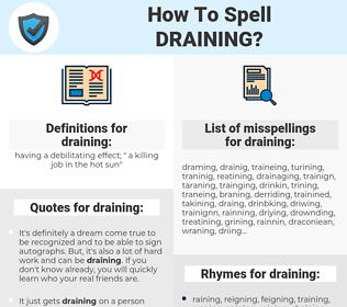 draining, spellcheck draining, how to spell draining, how do you spell draining, correct spelling for draining