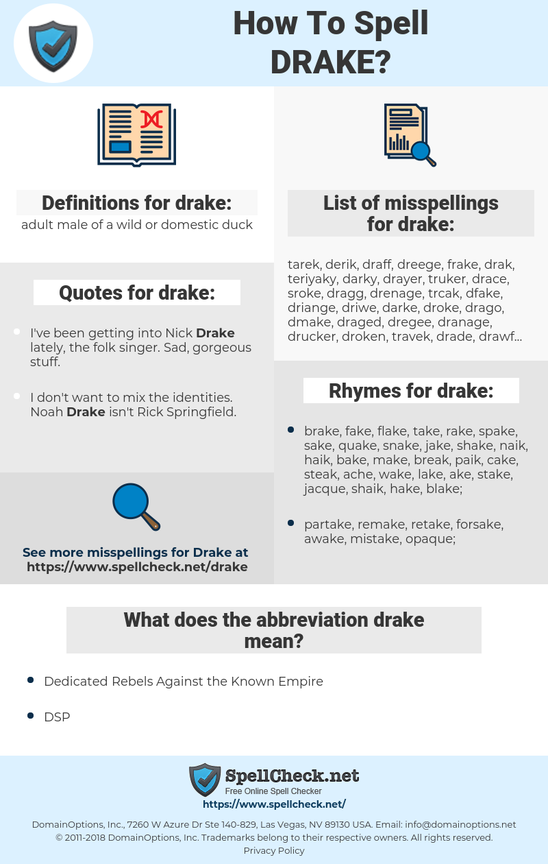drake, spellcheck drake, how to spell drake, how do you spell drake, correct spelling for drake