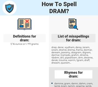 dram, spellcheck dram, how to spell dram, how do you spell dram, correct spelling for dram