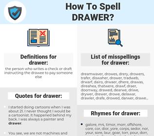 drawer, spellcheck drawer, how to spell drawer, how do you spell drawer, correct spelling for drawer