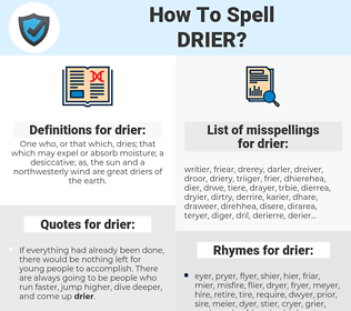drier, spellcheck drier, how to spell drier, how do you spell drier, correct spelling for drier
