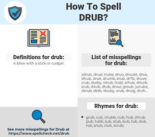 drub, spellcheck drub, how to spell drub, how do you spell drub, correct spelling for drub