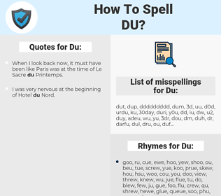 Du, spellcheck Du, how to spell Du, how do you spell Du, correct spelling for Du
