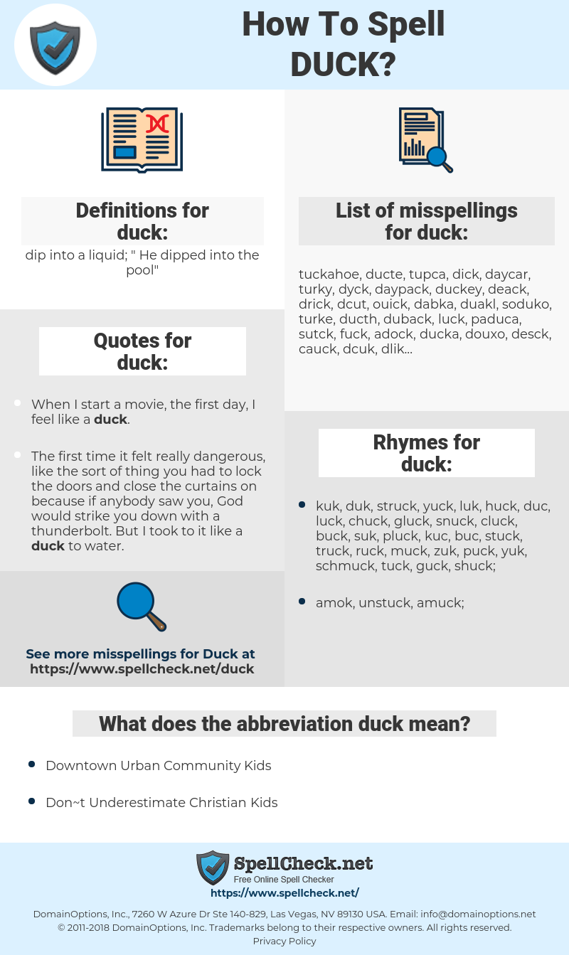 duck, spellcheck duck, how to spell duck, how do you spell duck, correct spelling for duck